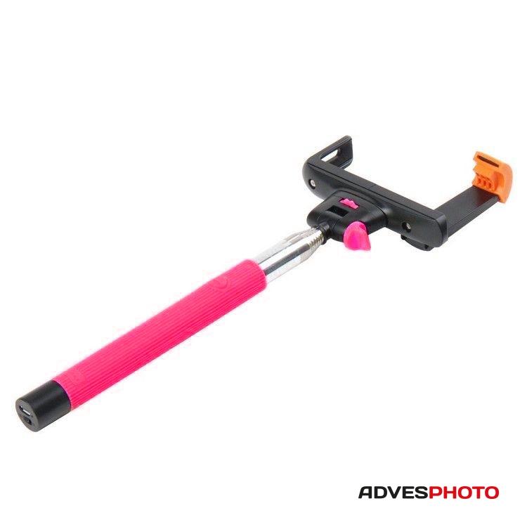Selfie monopod beépített bluetooth távkioldóval és telefontartóval, rózsaszín /Teleszkópos/