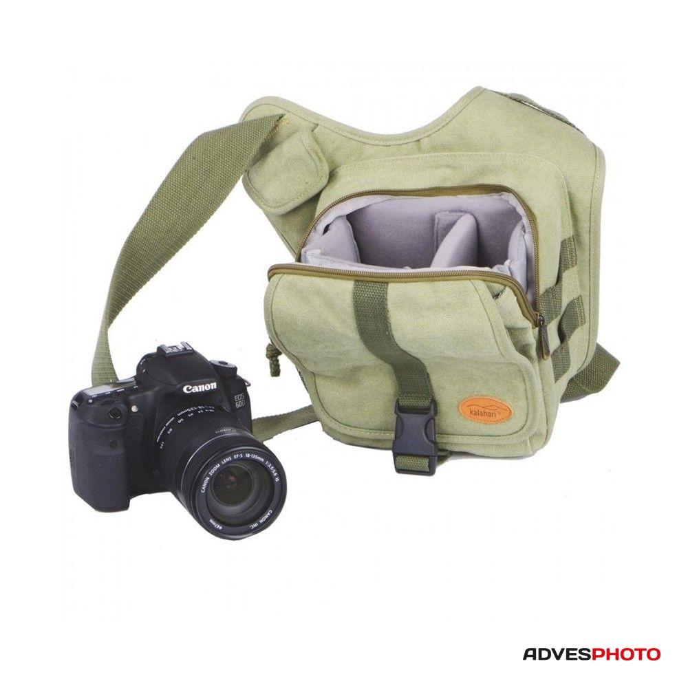 Kalahari Fotós táska KIKAO K-51 vászon oldaltáska, válltáska khaki színben