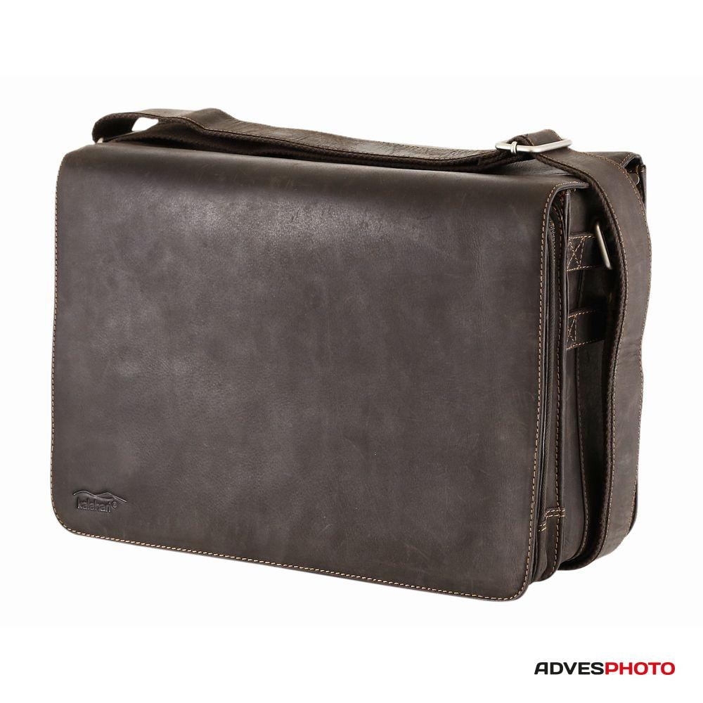 Kalahari Fotós táska bőr KAAMA L-26, valódi bőr oldaltáska, válltáska barna színben