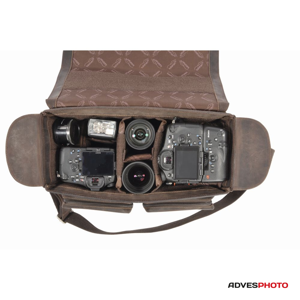 Kalahari Fotós táska és kameratáska bőr KAAMA L-28, valódi bőr oldaltáska, válltáska bivalybőr színben