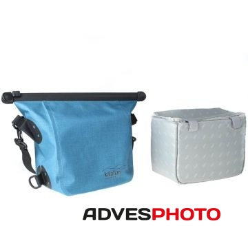 Kalahari Fotós táska esőálló, OKAVANGO W-11, fotós elválasztó betéttel vászon oldaltáska, válltáska kék színben